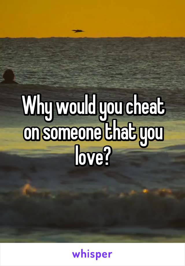 Why would you cheat on someone that you love?