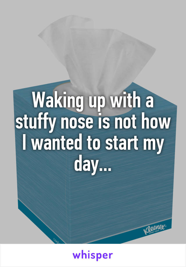 Waking up with a stuffy nose is not how I wanted to start my day...