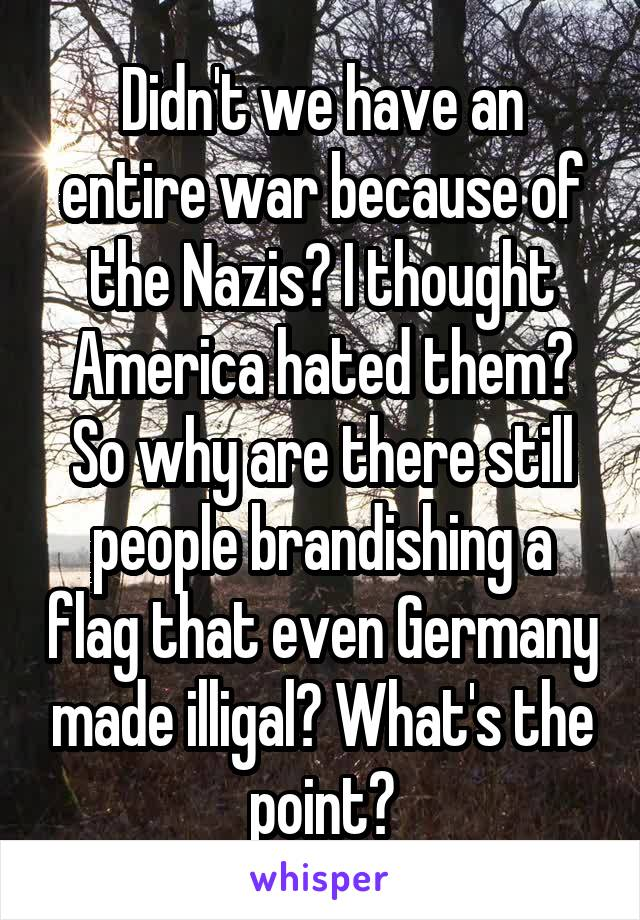 Didn't we have an entire war because of the Nazis? I thought America hated them? So why are there still people brandishing a flag that even Germany made illigal? What's the point?