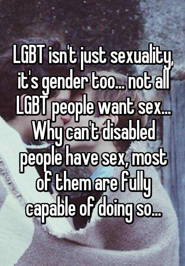 Disabled people want sex too