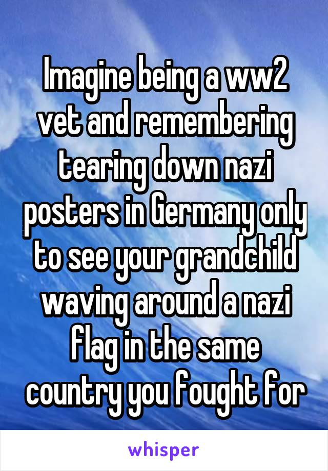 Imagine being a ww2 vet and remembering tearing down nazi posters in Germany only to see your grandchild waving around a nazi flag in the same country you fought for