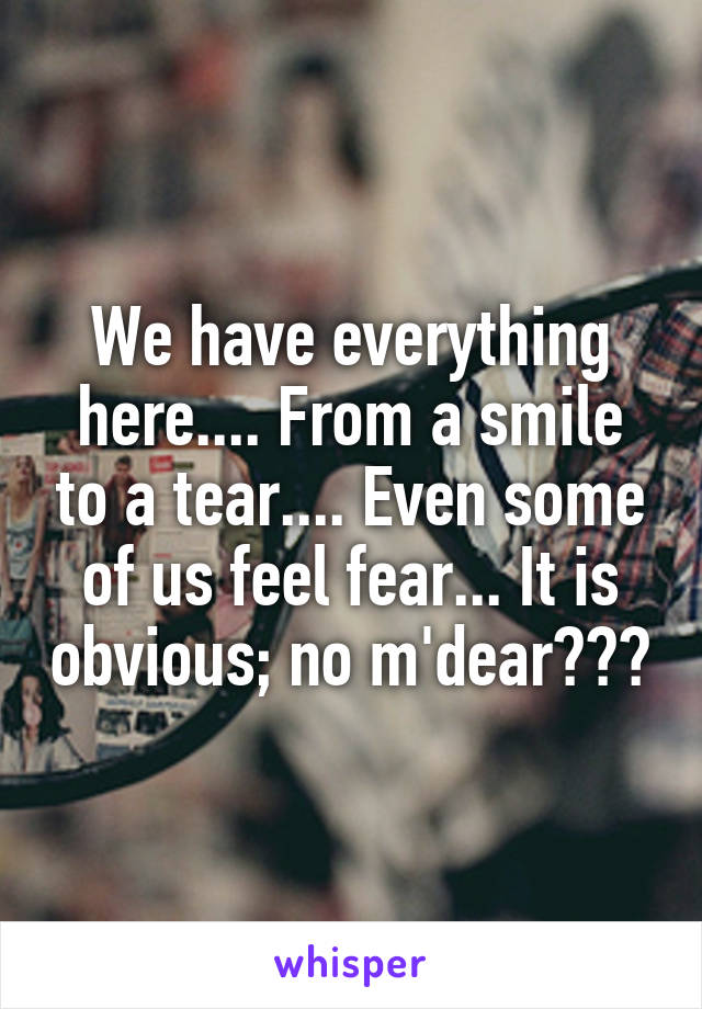 We have everything here.... From a smile to a tear.... Even some of us feel fear... It is obvious; no m'dear???
