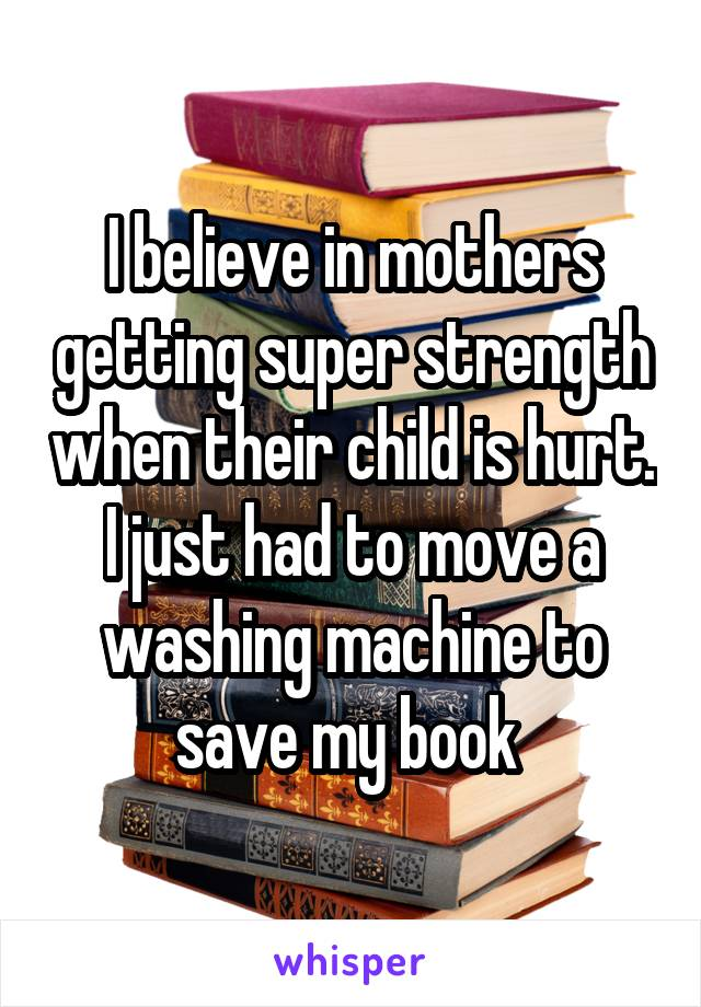 I believe in mothers getting super strength when their child is hurt. I just had to move a washing machine to save my book