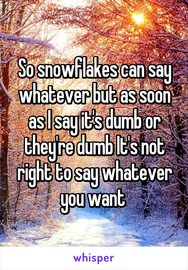 So snowflakes can say whatever but as soon as I say it's dumb or they're dumb It's not right to say whatever you want