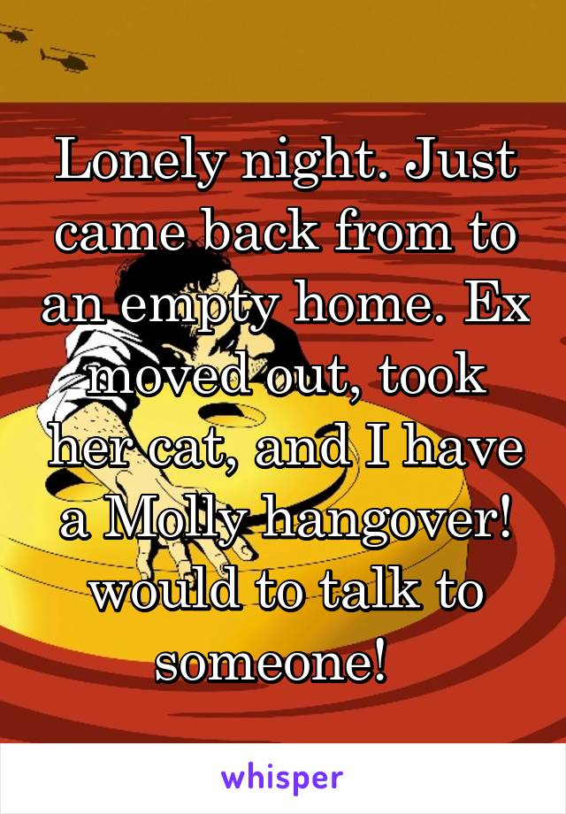 Lonely night. Just came back from to an empty home. Ex moved out, took her cat, and I have a Molly hangover! would to talk to someone!