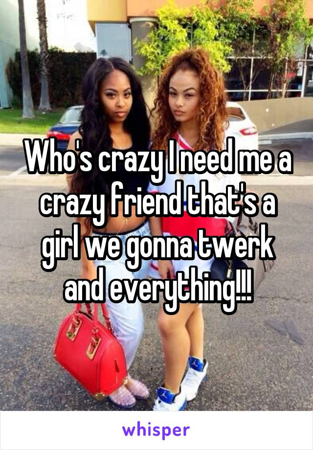 Who's crazy I need me a crazy friend that's a girl we gonna twerk and everything!!!