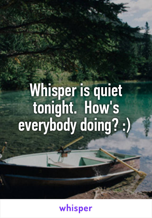 Whisper is quiet tonight.  How's everybody doing? :)