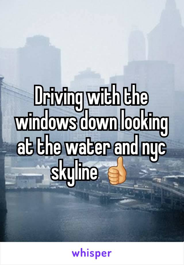 Driving with the windows down looking at the water and nyc skyline 👍