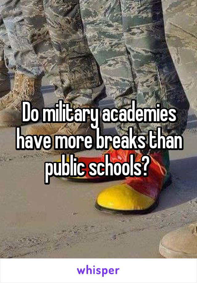 Do military academies have more breaks than public schools?