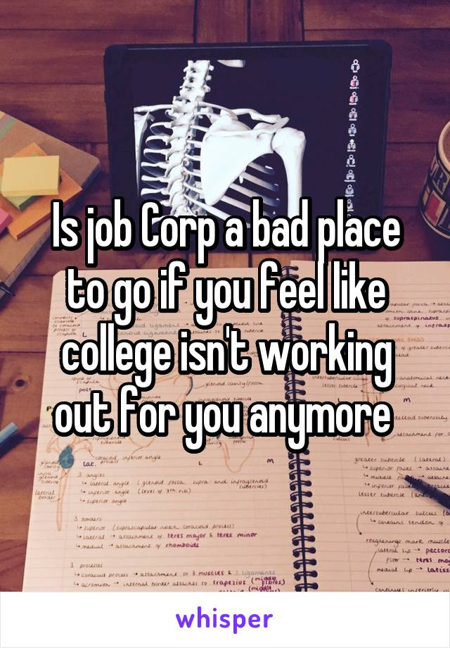 Is job Corp a bad place to go if you feel like college isn't working out for you anymore
