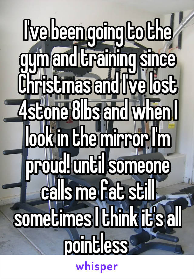 I've been going to the gym and training since Christmas and I've lost 4stone 8lbs and when I look in the mirror I'm proud! until someone calls me fat still sometimes I think it's all pointless