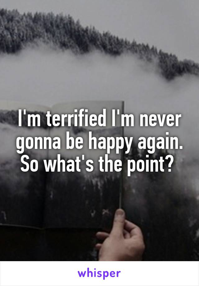 I'm terrified I'm never gonna be happy again. So what's the point?