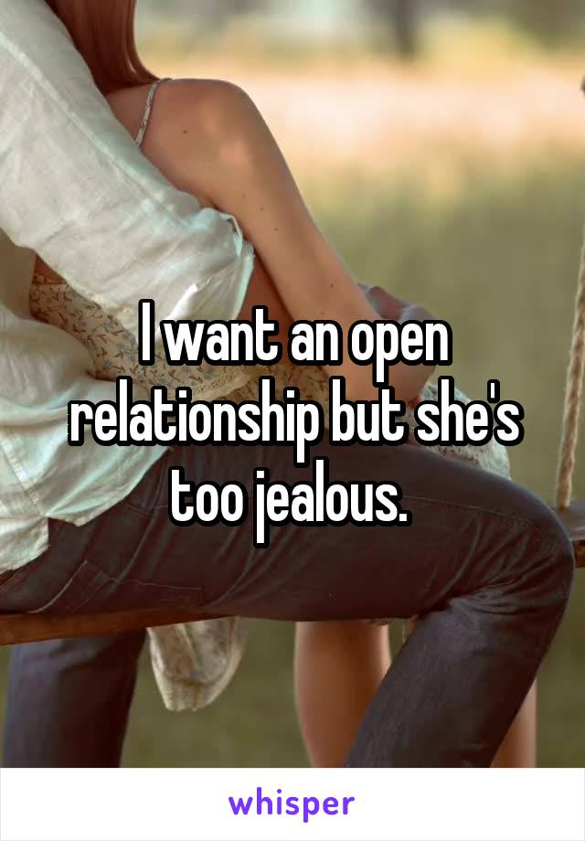 I want an open relationship but she's too jealous.