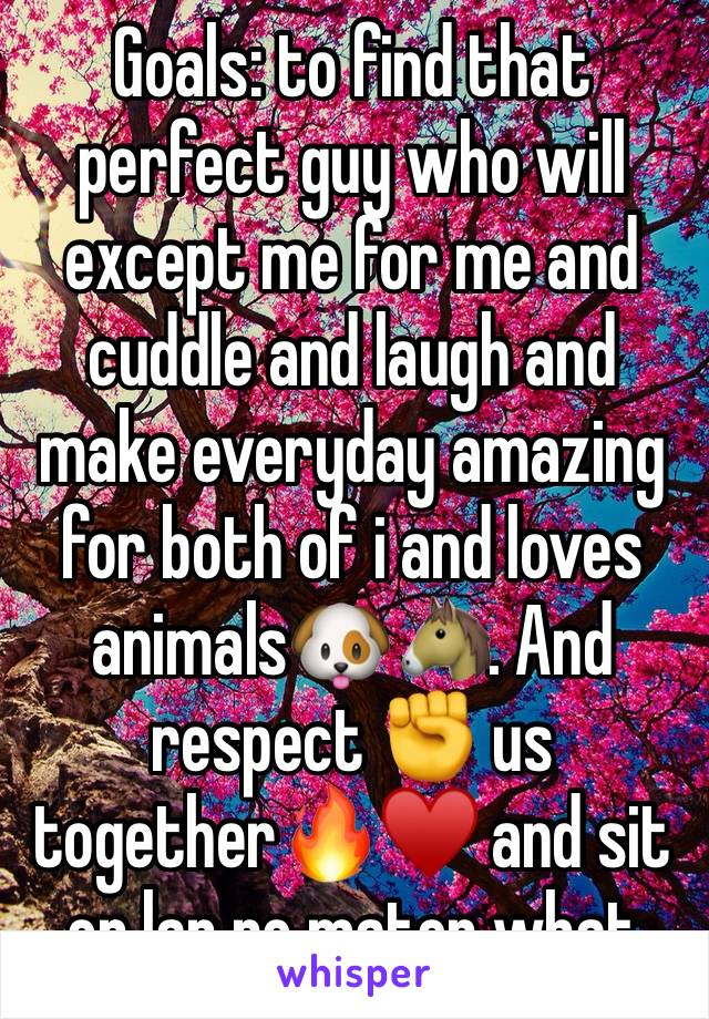 Goals: to find that perfect guy who will except me for me and cuddle and laugh and make everyday amazing for both of i and loves animals🐶🐴. And respect ✊ us together🔥♥️ and sit on lap no mater what