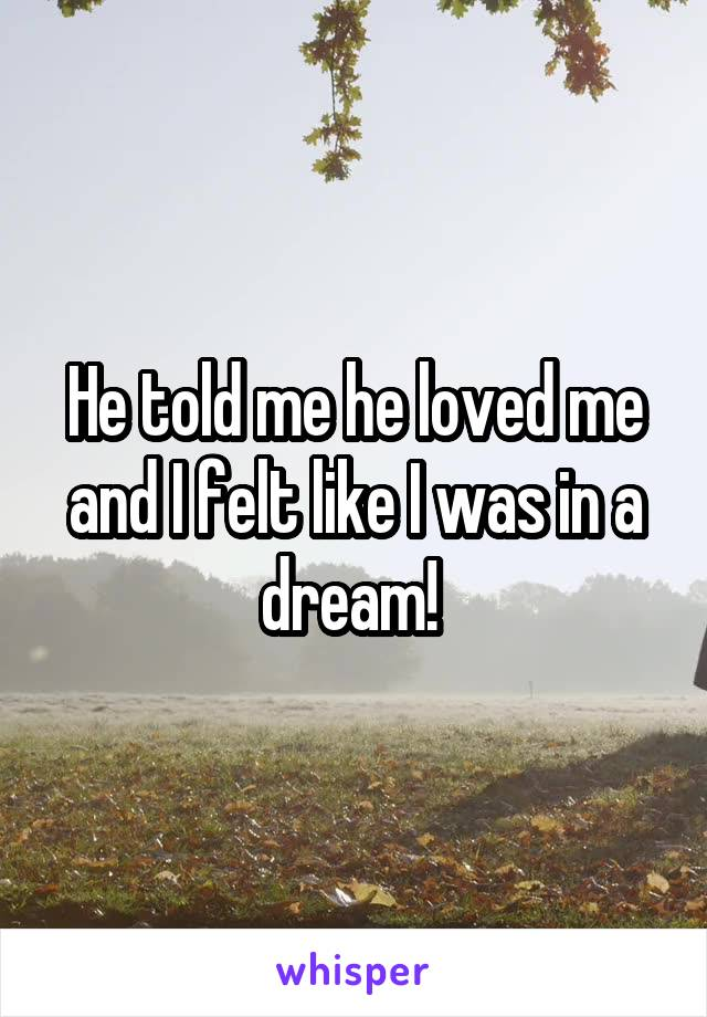 He told me he loved me and I felt like I was in a dream!