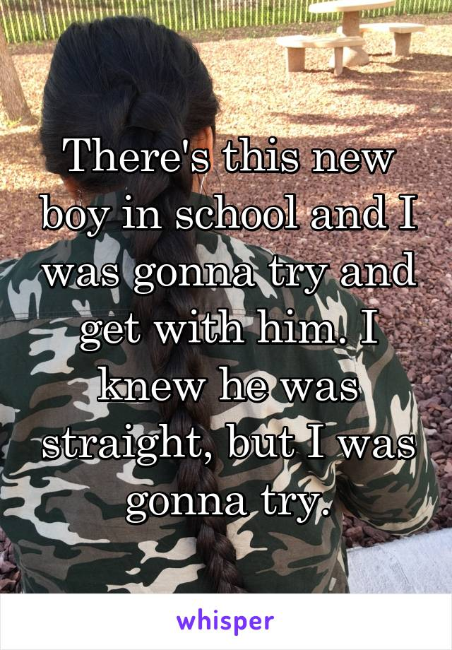 There's this new boy in school and I was gonna try and get with him. I knew he was straight, but I was gonna try.