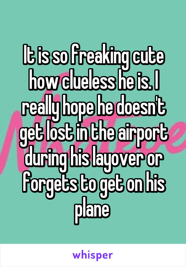 It is so freaking cute how clueless he is. I really hope he doesn't get lost in the airport during his layover or forgets to get on his plane