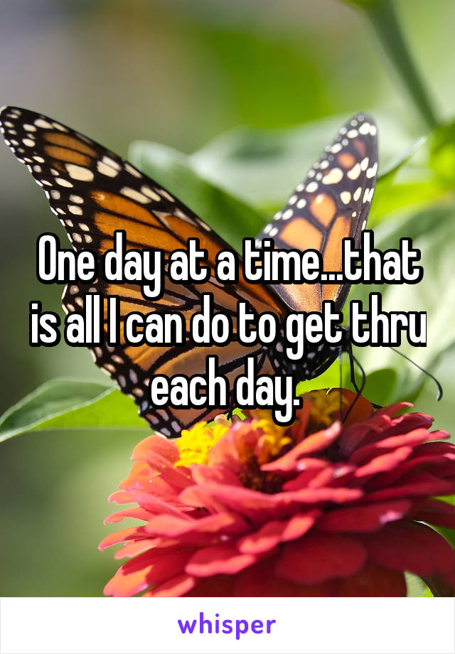 One day at a time...that is all I can do to get thru each day.