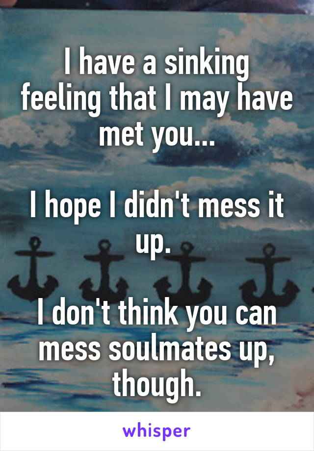 I have a sinking feeling that I may have met you...  I hope I didn't mess it up.   I don't think you can mess soulmates up, though.