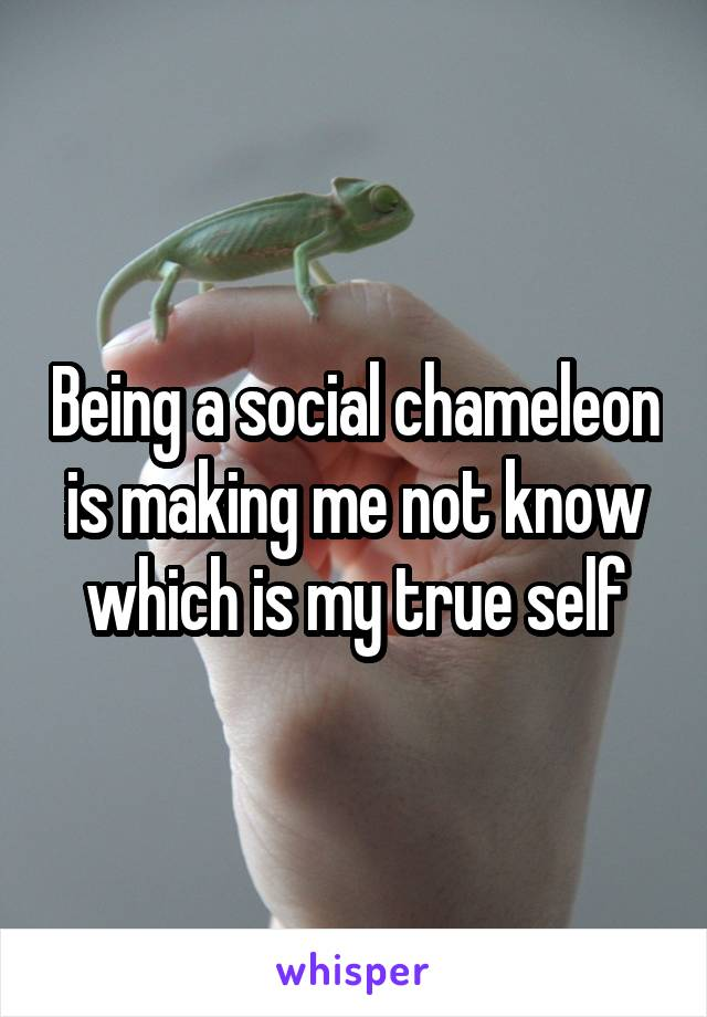 Being a social chameleon is making me not know which is my true self