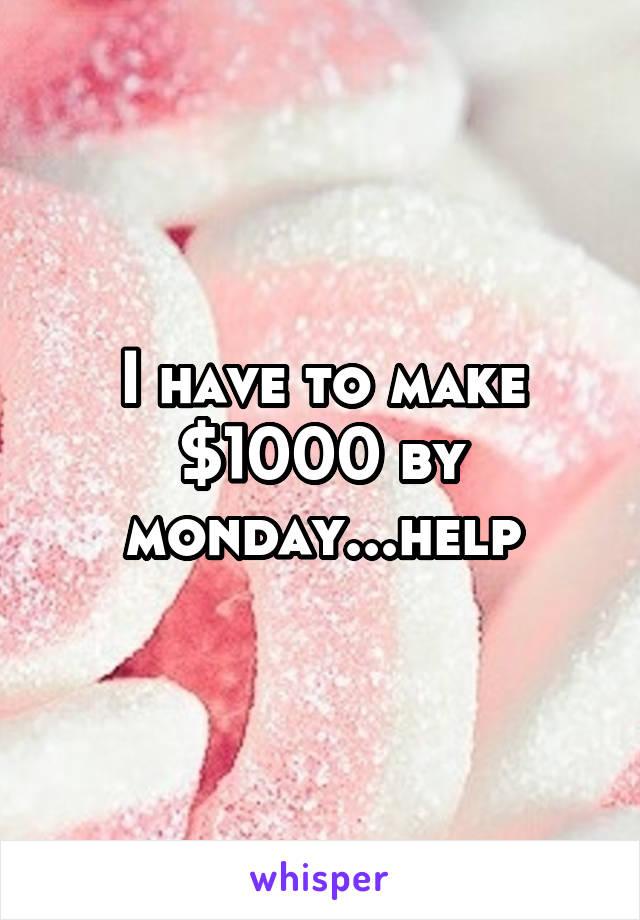 I have to make $1000 by monday...help