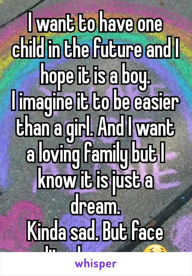 I want to have one child in the future and I hope it is a boy. I imagine it to be easier than a girl. And I want a loving family but I know it is just a dream. Kinda sad. But face reality dreamer.😂