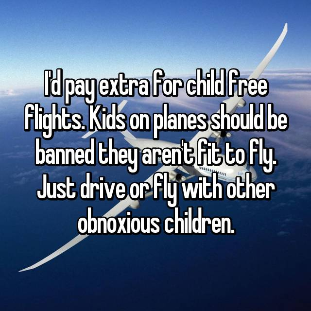I'd pay extra for child free flights. Kids on planes should be banned they aren't fit to fly. Just drive or fly with other obnoxious children.