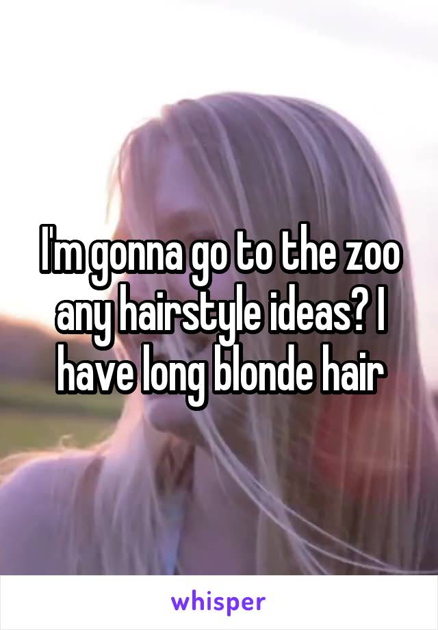 I'm gonna go to the zoo any hairstyle ideas? I have long blonde hair