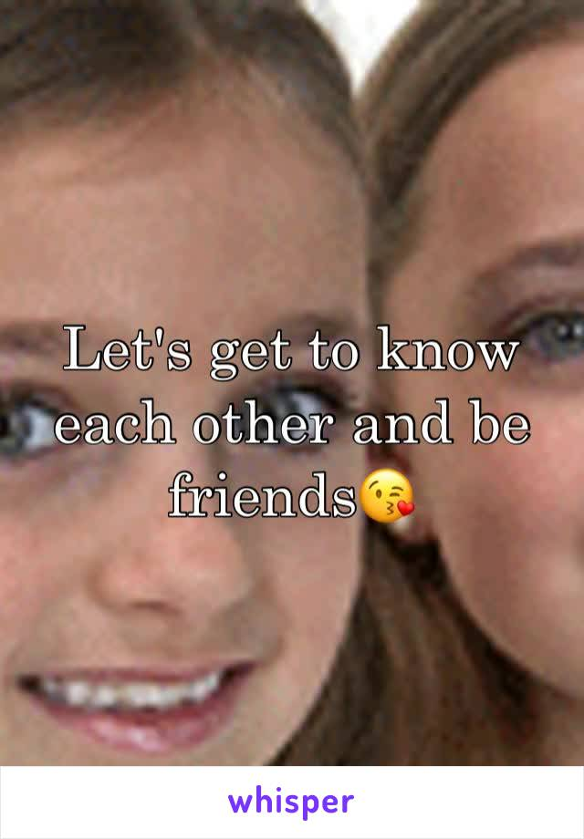 Let's get to know each other and be friends😘