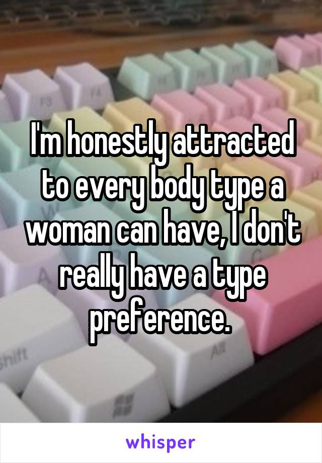 I'm honestly attracted to every body type a woman can have, I don't really have a type preference.