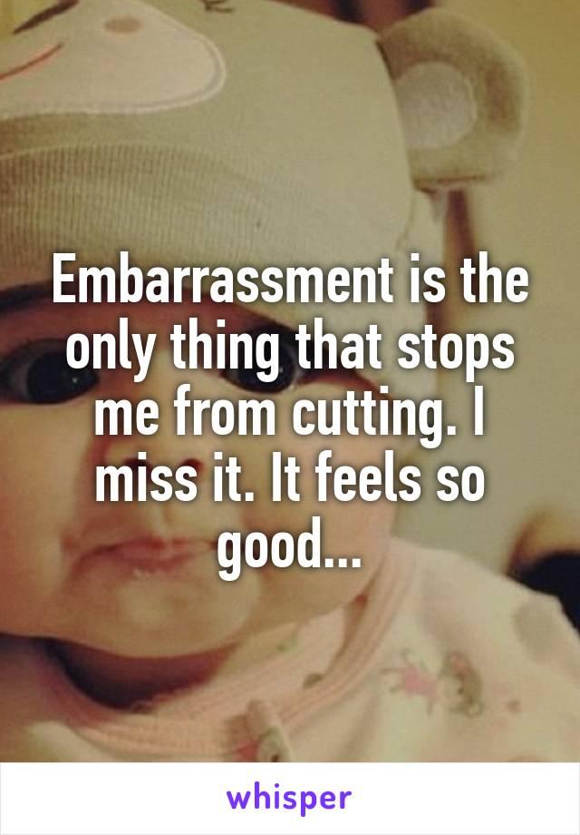 Embarrassment is the only thing that stops me from cutting. I miss it. It feels so good...