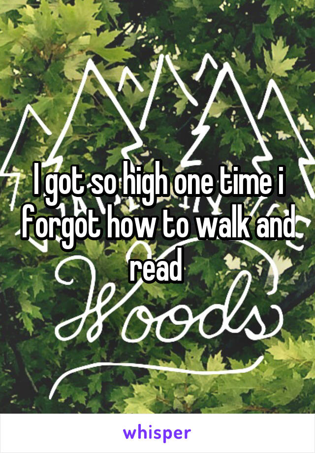 I got so high one time i forgot how to walk and read