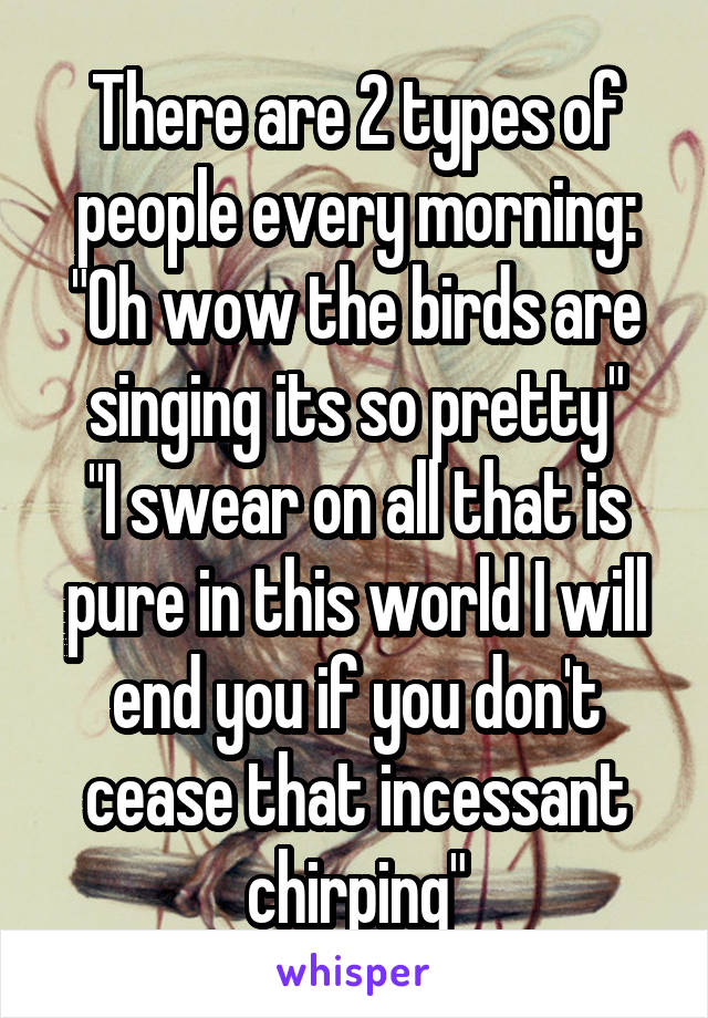 """There are 2 types of people every morning: """"Oh wow the birds are singing its so pretty"""" """"I swear on all that is pure in this world I will end you if you don't cease that incessant chirping"""""""