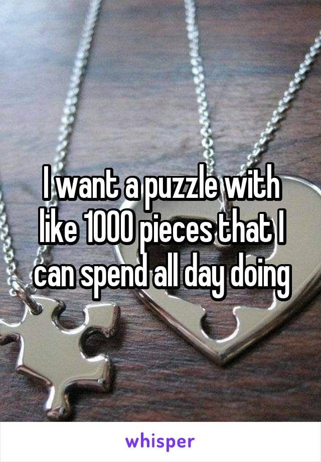 I want a puzzle with like 1000 pieces that I can spend all day doing