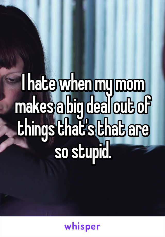 I hate when my mom makes a big deal out of things that's that are so stupid.