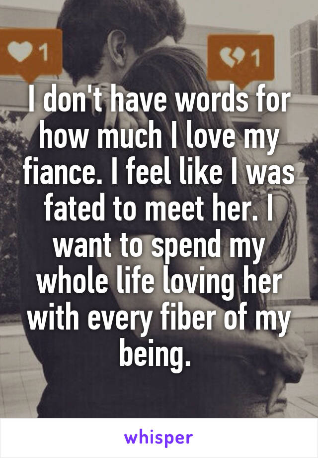 I don't have words for how much I love my fiance. I feel like I was fated to meet her. I want to spend my whole life loving her with every fiber of my being.