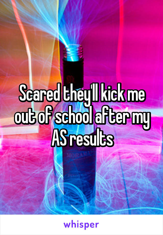 Scared they'll kick me out of school after my AS results