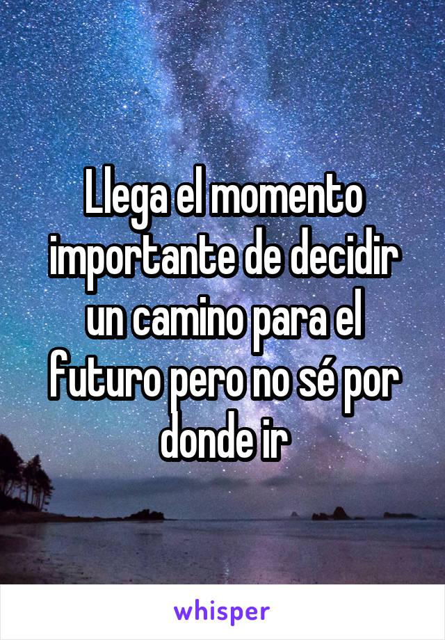 Llega el momento importante de decidir un camino para el futuro pero no sé por donde ir