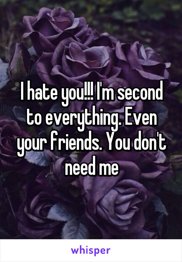 I hate you!!! I'm second to everything. Even your friends. You don't need me