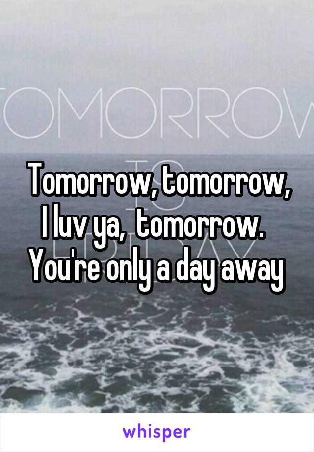 Tomorrow, tomorrow, I luv ya,  tomorrow.   You're only a day away