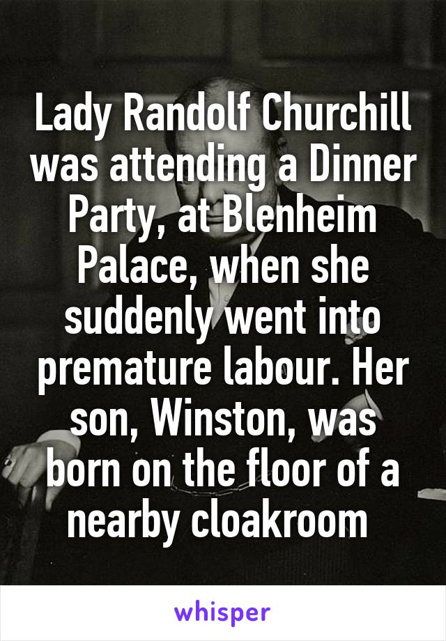 Lady Randolf Churchill was attending a Dinner Party, at Blenheim Palace, when she suddenly went into premature labour. Her son, Winston, was born on the floor of a nearby cloakroom