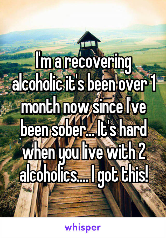 I'm a recovering alcoholic it's been over 1 month now since I've been sober... It's hard when you live with 2 alcoholics.... I got this!