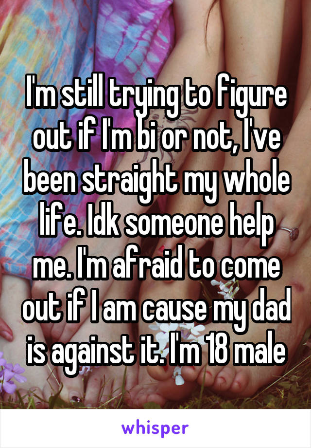 I'm still trying to figure out if I'm bi or not, I've been straight my whole life. Idk someone help me. I'm afraid to come out if I am cause my dad is against it. I'm 18 male