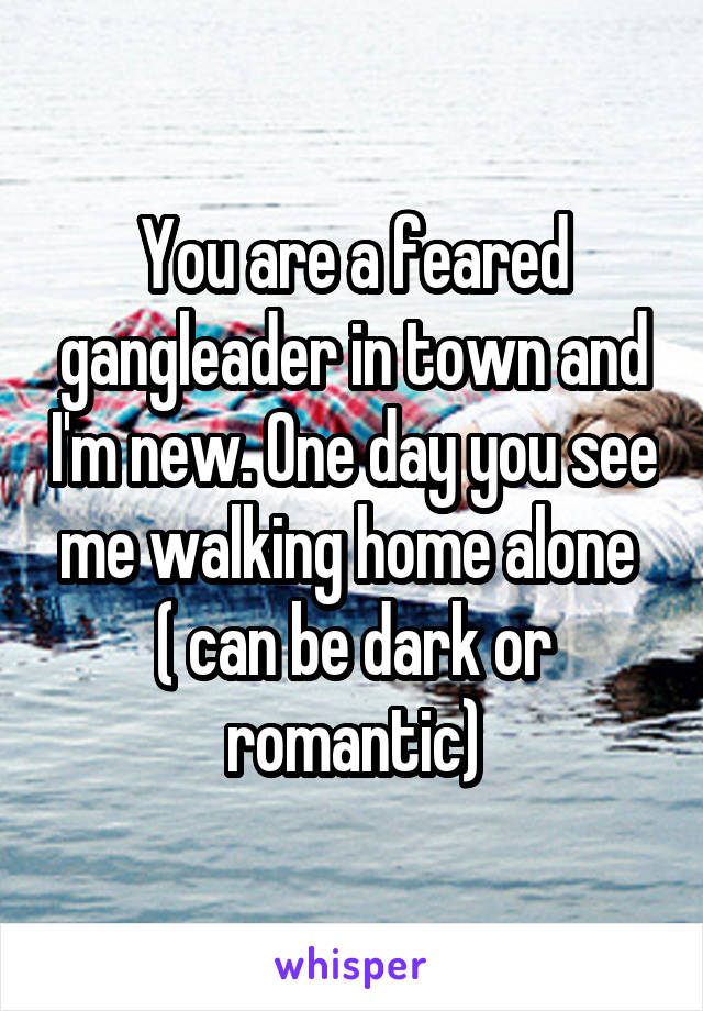 You are a feared gangleader in town and I'm new. One day you see me walking home alone  ( can be dark or romantic)
