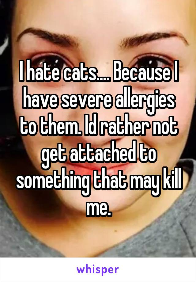 I hate cats.... Because I have severe allergies to them. Id rather not get attached to something that may kill me.