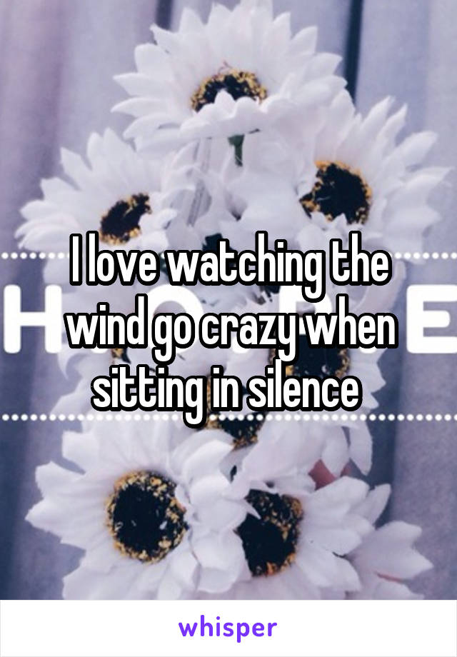 I love watching the wind go crazy when sitting in silence