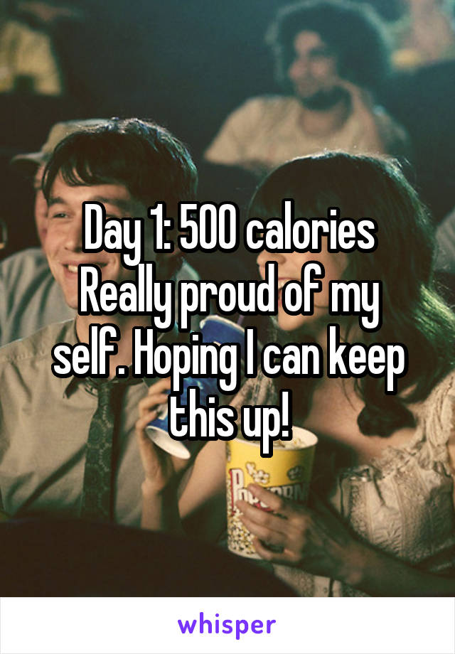 Day 1: 500 calories Really proud of my self. Hoping I can keep this up!
