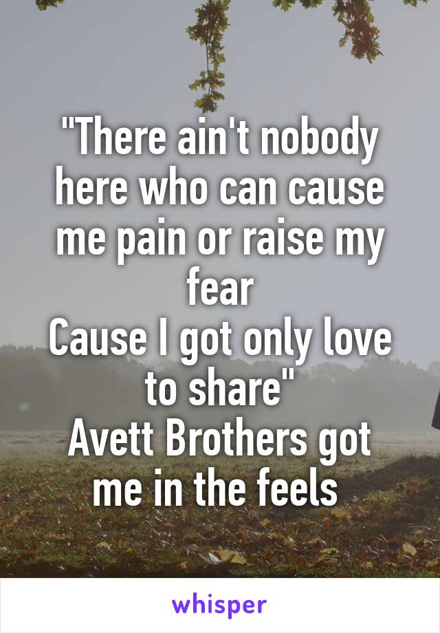 """""""There ain't nobody here who can cause me pain or raise my fear Cause I got only love to share"""" Avett Brothers got me in the feels"""