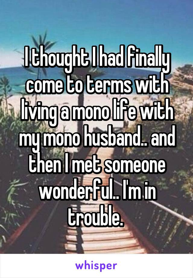 I thought I had finally come to terms with living a mono life with my mono husband.. and then I met someone wonderful.. I'm in trouble.