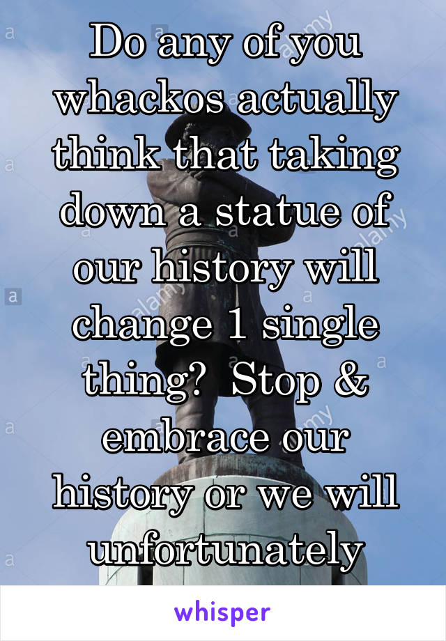 Do any of you whackos actually think that taking down a statue of our history will change 1 single thing?  Stop & embrace our history or we will unfortunately repeat it.